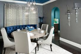 view in gallery gray dining room with custom designed blue banquet and ceiling design rsvp design services