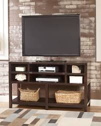 simple furniture small. Furniture Simple Modern Oak Flat Screen Tv Stand Console Table With Shelf And Rattan Basket Storage For Small Living Room False Brick Wall Panels Ideas