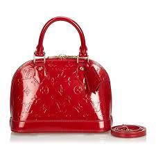 louis vuitton vintage vernis alma bb handbag bag red vernis leather handbag luxury high quality avvenice