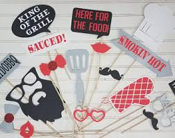 Set of 18 - Backyard BBQ Photo booth Props, I do Bbq Couples Shower,