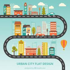 Urban City Flat Design Vector Free Download