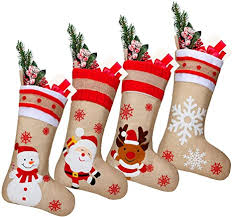 Find great deals on ebay for candy cane stocking. Amazon Com 4 Pieces 18 Inch Burlap Christmas Stockings Santa Snowman Reindeer Snowflake Stocking Candy Stocking Bags For Christmas Fireplace Hanging Decoration Home Kitchen