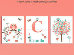 coral teal owl themed nursery wall art set on canvas wall art baby names with coral and turquoise owl nursery decor art mom and baby owl baby