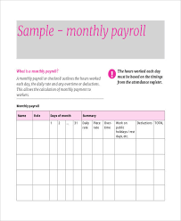 Monthly Payment Sheet 11 Payroll Sheet Templates Free Sample Example Format
