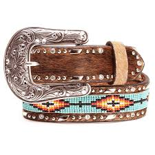 ariat girls hair on beaded leather belts tan tap to expand