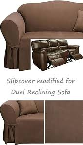 3 seater leather recliner sofa cover dual reclining slipcover suede chocolate sure fit furniture gorgeous brown
