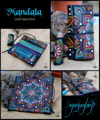 mandala leather pouch