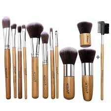 get ations acevivi professional 12 piece makeup brush set premium synthetic kabuki blending blush bamboo handle with