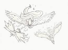 Pokemon Coloring Pages Legendary Birds Coloring Pages For Kids
