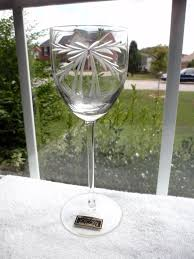 details about hand blown hand cut toscany crystal romania wine glass etched ribbon