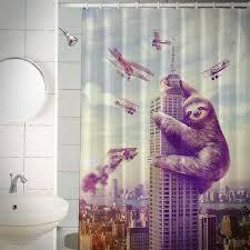 slothzilla shower curtain enlarge image