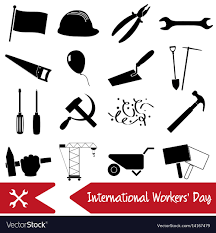 labor day theme international worker day or labor day theme icons vector image