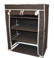 brown color portable 4 tiers shoe rack storage and shelves with fabric cover and black color shoe rack storage sliding
