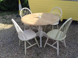 shabby chic round pine dining table and 4 farmhouse chairs upcycled