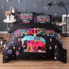 colorful cartoon elephant bedding set black duvet quilt cover sheet sets queen king size bedding bedding sets full comforter queen sets from hybeddings