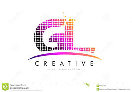 Gl Design Gl G L Letter Logo Design With Magenta Dots And Swoosh Stock