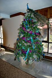 Peacock Living Room Decor Xmas Tree Decorating Ideas With Naatural Peacock Tree Topper