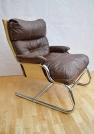 mid century danish chrome leather and canvas armchair 1960s for