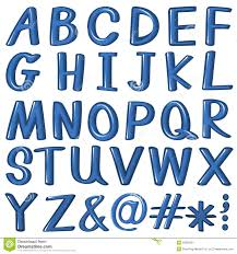 Blue Letters Letters Of The Alphabet In Blue Color Stock Vector