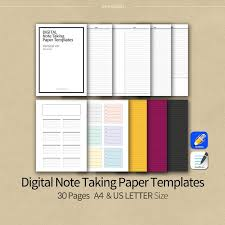 Notebook Templates 30pages Black Line Goodnotes Notability Note Taking Paper Templates Vertical Ver Digital Notebook Templates Printable A4 Us Letter