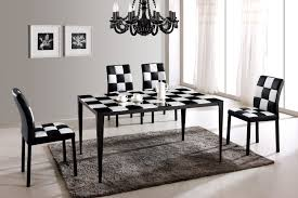 casual black and white dining room set 5 piece with rectangular dining table and comfy