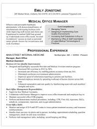 Medical Office Manager Resume Outathyme Com