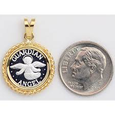 999 pure silver guardian angel coin 14mm in solid 14kt gold rope pendant