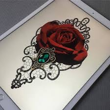 эскиз тату роза гипюр брошь с камнем Tattoo эскиз тату тату и