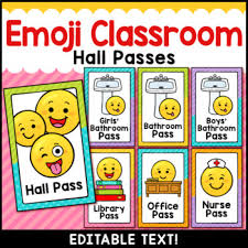 Emoji Classroom Decor Editable Hall Passes By Littlered Tpt