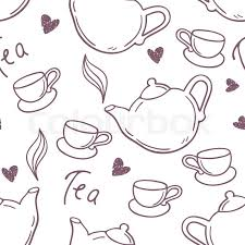 teacup and teapot drawing. Beautiful Teapot Seamless Pattern With Hand Drawn Tea Cup And Teapot Outline Style  Background Vector Illustration  Stock Colourbox With Teacup And Teapot Drawing I