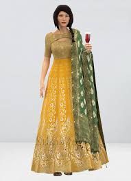 Frock Suit Neck Design Shop Custom Made Yellow Boat Neck Anarkali Suit Ready To Wear Dresses For Women Slbs01907182rtw