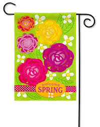 burlap garden flag. Welcome Spring Garden Flowers Burlap Flag