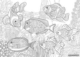 coloring page of underwater world diffe fish species on the background of a sunken ship
