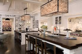 kitchen island lighting. Two Unique Rectangular Kitchen Island Lighting With Wooden Countertop Stainless Steel Appliances Black Padded Dining Chairs