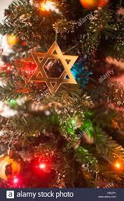 Christmas Lights Star Of David Jewish Star Of David On Christmas Tree Stock Photo 92819161