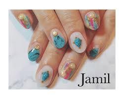 Jamilさんのネイルデザイン 夏ネイルターコイズネイル Tredina