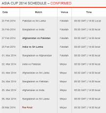 Asia Cup Chart Asia Cup 2014 Schedule Match Time Table With Venue Details