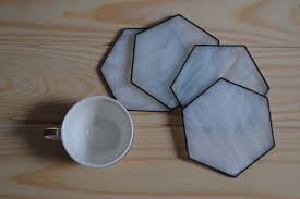 drink coasters minimalist stained glass hexagon coffee table