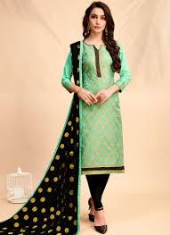 Cotton Churidar Dress Design Patterns Black And Green Print Cotton Churidar Suit