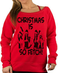 Fleece Lined Christmas Ugly Shoulder Sweater. Mean Girls Womens Sw