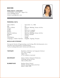 Resume Template Download Word Personal Biodata Format Regarding