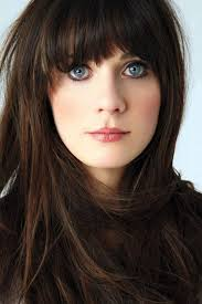 zooey deschanel long straight hairstyle with blunt bangs