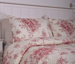 33 extremely ideas red toile duvet cover bedding design homesfeed flower on pillows and bed white frame king french