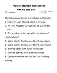 It has an au worksheet and a list of words that begin with auto and a list of augh words. Aw And Au Words Lesson Plans Worksheets Reviewed By Teachers