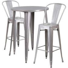 silver 3 piece metal round outdoor bar height bistro set