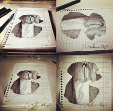 easy 3d drawings on paper step by step 3d hole from diffe