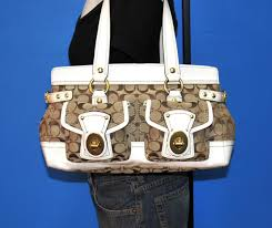 Image is loading COACH-LEGACY-Signature-Satchel-Brown-Jacquard-White-Patent-