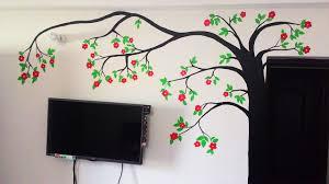 diy tree wall painting for diwali