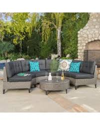 navagio outdoor 5 piece wicker sofa set with cushions by christopher knight home dark grey wicker with mixed black cushions size 5 piece sets patio furniture fabric