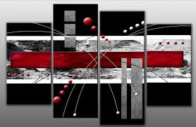 metallic large four panel abstract painting sculptures silver black red line round mysterious elegance design red on large canvas wall art ebay with wall art elegance design for red canvas wall art canvas art with